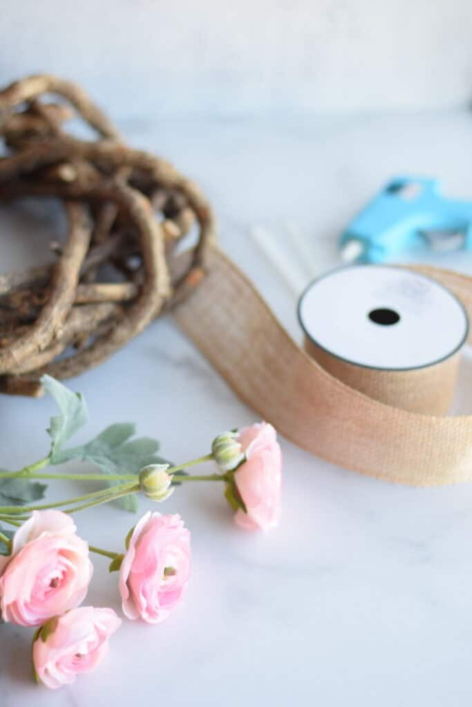 Supplies needed for the diy spring wreath