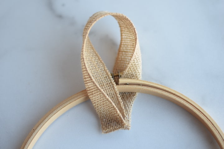 step three of burlap hoop