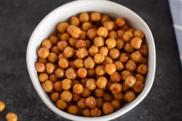 crispy italian garbanzo beans in a white bowl