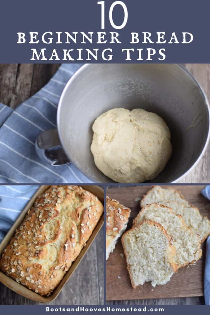 photo collage of homemade bread making