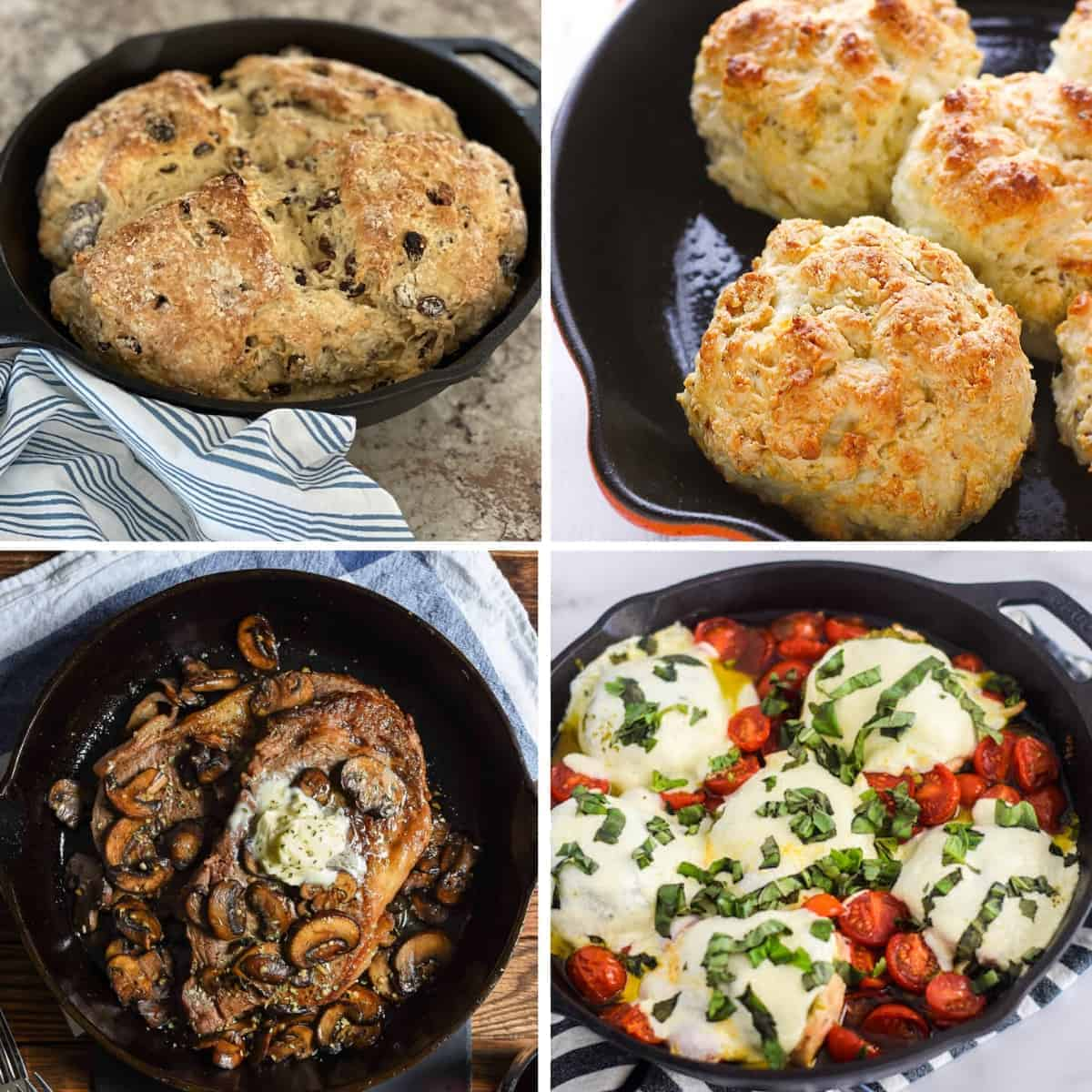 cast iron recipes collage of 4 recipes