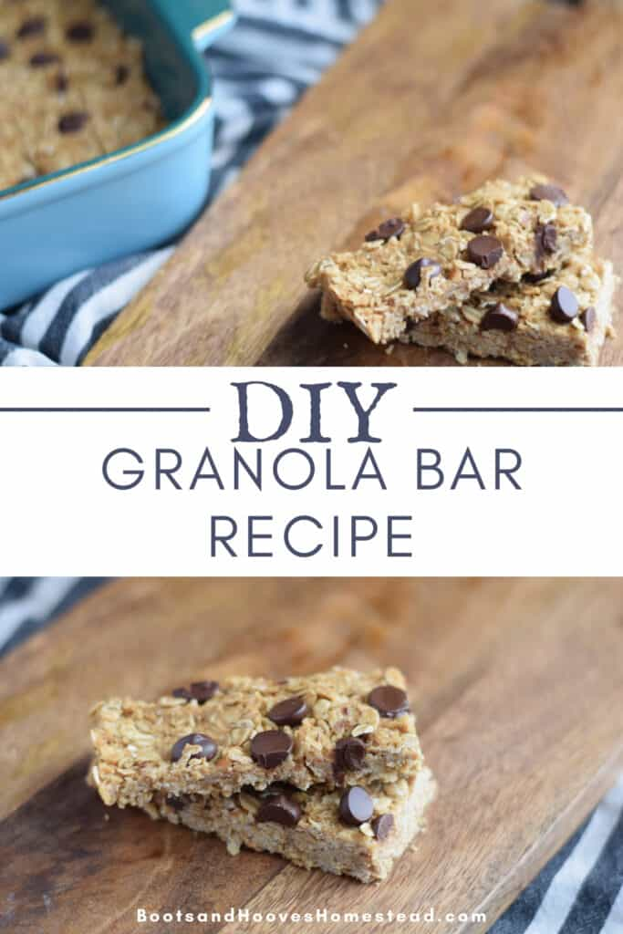 photo collage of peanut butter granola bars on wooden cutting board