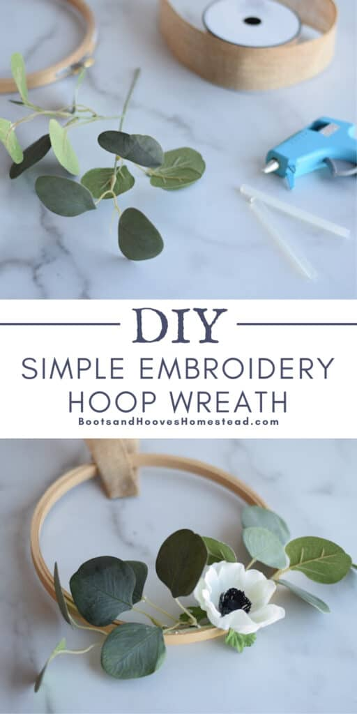 photo collage of diy embroidery wreath