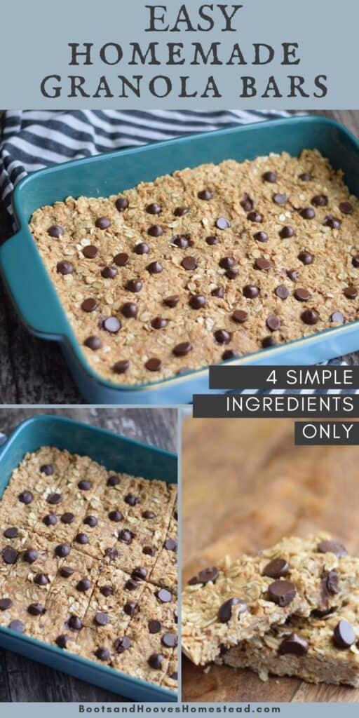 process shots of making homemade granola bars