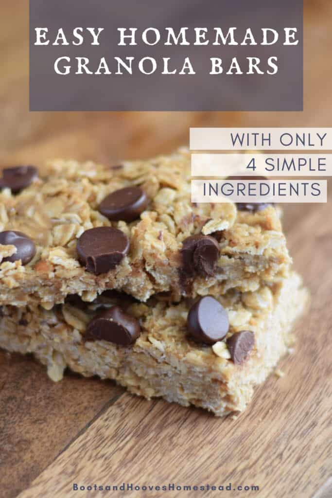 close up image of peanut butter granola bars with chocolate chips