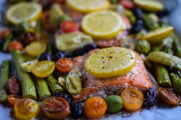 cooked salmon and veggies