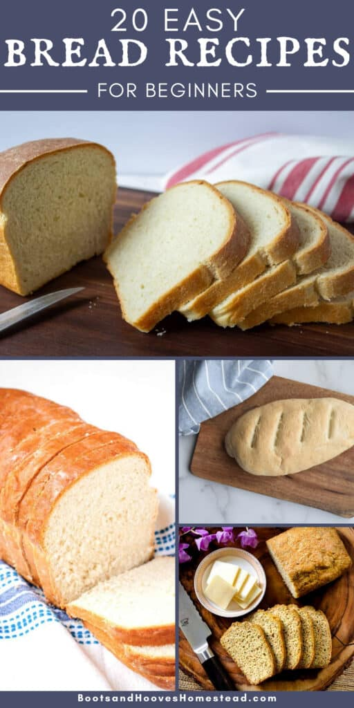 photo collage of four images of homemade bread recipes