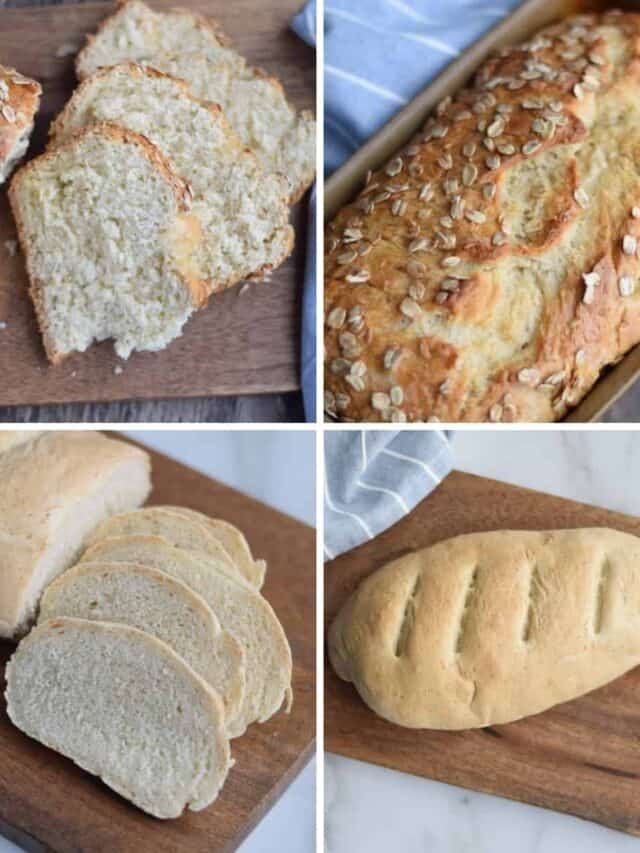 photo collage of 4 bread recipes