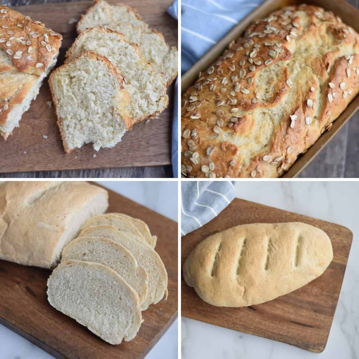 photo collage of 4 bread recipes