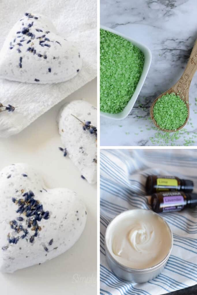 photo collage of three natural products to use for a spa night ideas