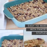 photo collage of 3 images of steps to make homemade granola bars