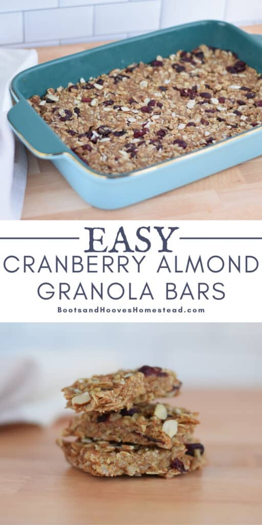 cranberry almond granola bars in blue baking dish