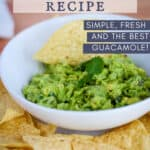 white plater with chips and guacamole dip