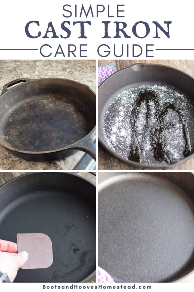 photo collage of four images of cast iron care steps