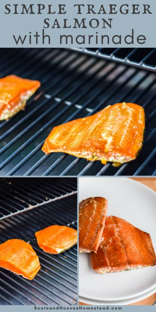 3 image collage with steps of grilling salmon
