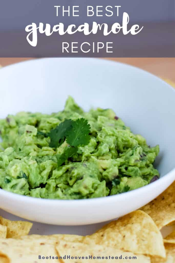 """white bowl of guacamole with text overlay that reads """"the best guacamole recipe"""""""