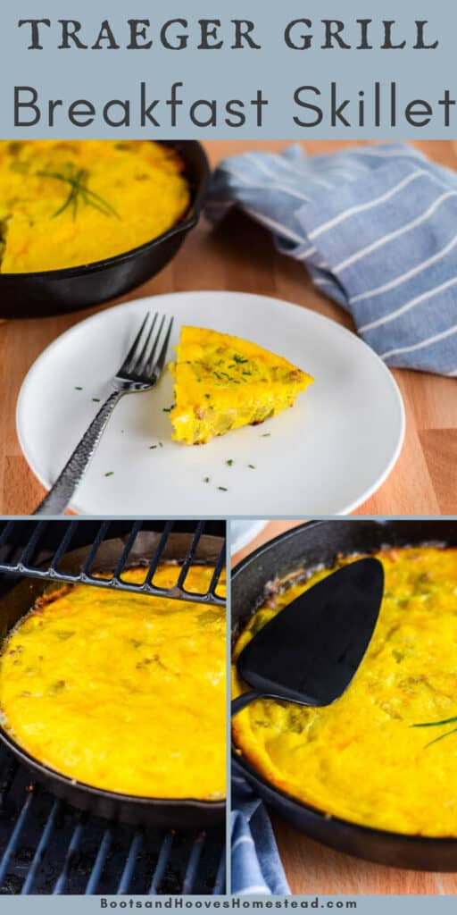 photo collage of 3 images with steps of cooking the breakfast skillet on the grill