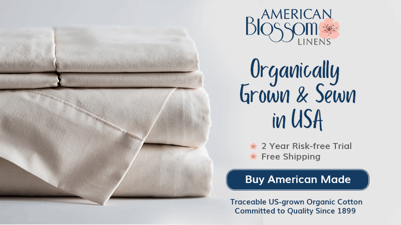 stack of American Blossom Linen organic sheets