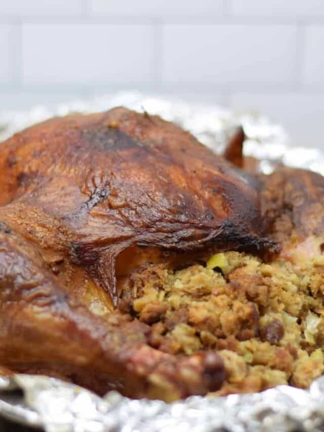 traeger turkey with stuffing in a roasting pan