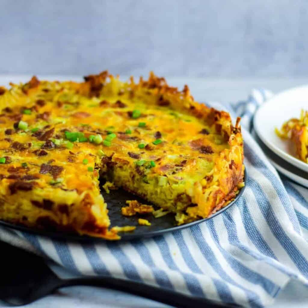 hash brown crust quiche on a baking dish