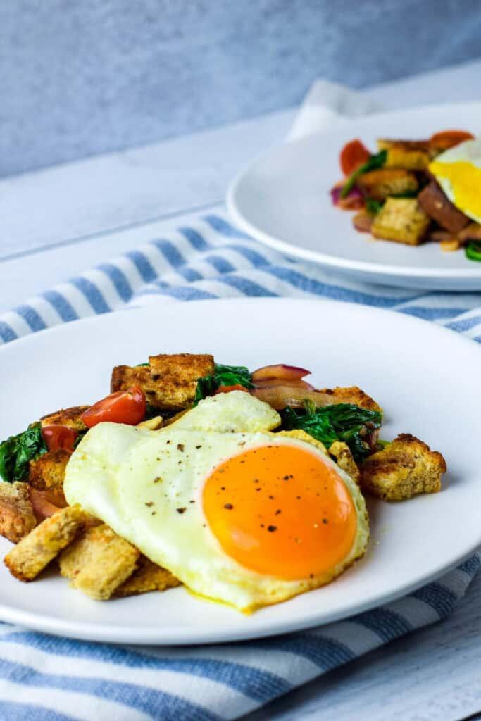 fresh plated mediterrean breakfast panzanella on a white plate