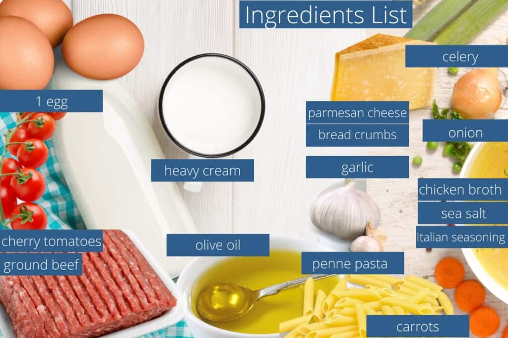 creamy meatball soup ingredient list with blue labels.