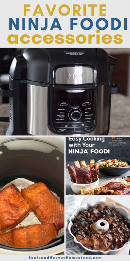 Ninja Foodi cooker, cook book, and roasting pans in a collage