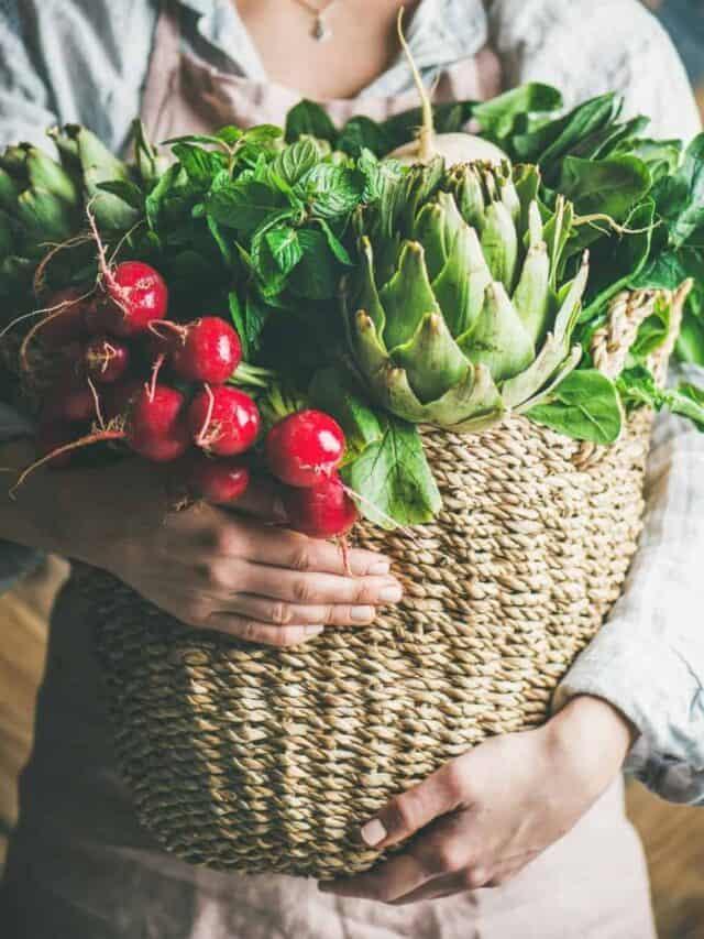 lady carrying basket of fresh harvested vegetables