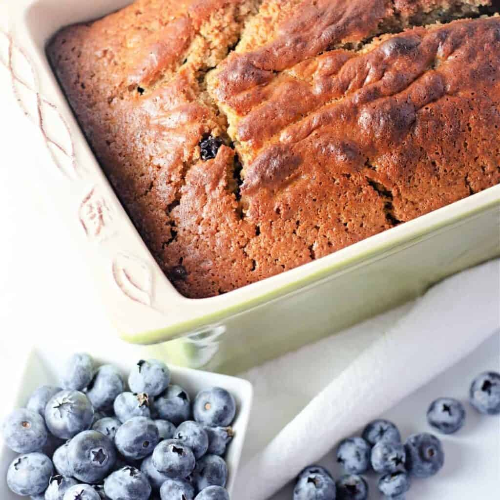 blueberry bread in bread pan