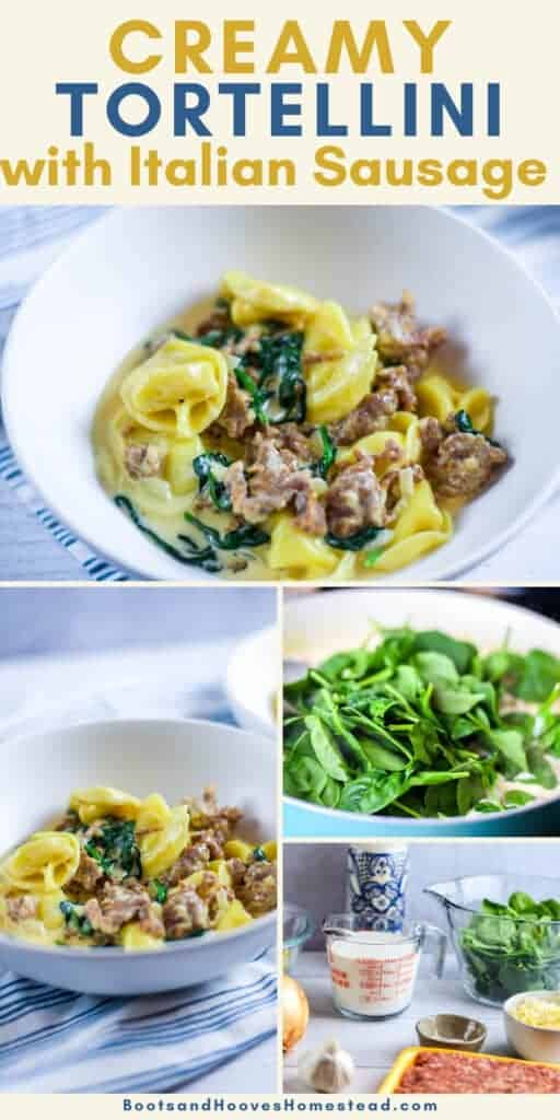 collage of images on steps to making the creamy tortellini with finished bowl