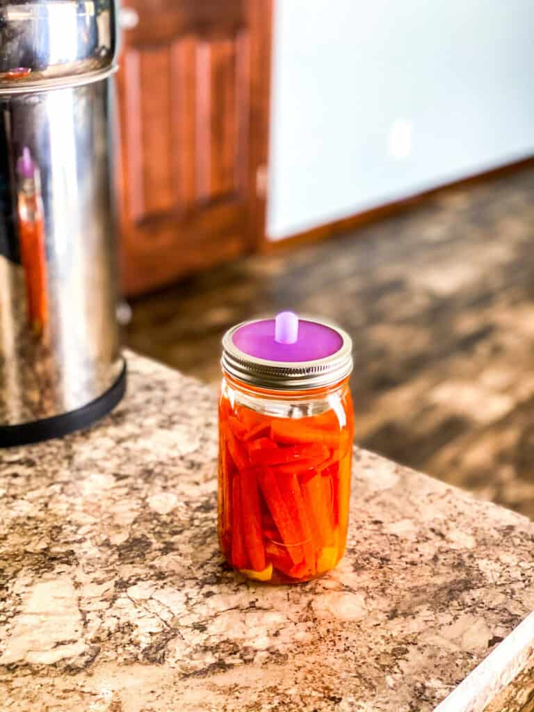 mason jar of carrots with ginger and turmeric to be fermented