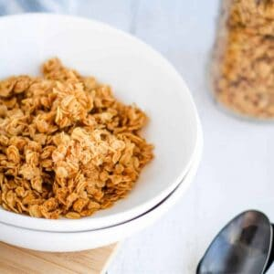 healthy granola in a white bowl