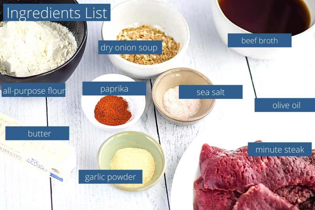 ingredients flat lay and list for the crock pot minute steak recipe