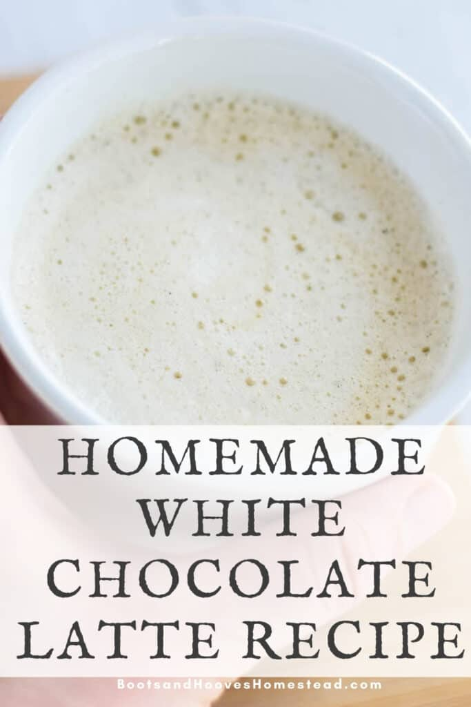 close up image of the homemade white chocolate latte in a white mug