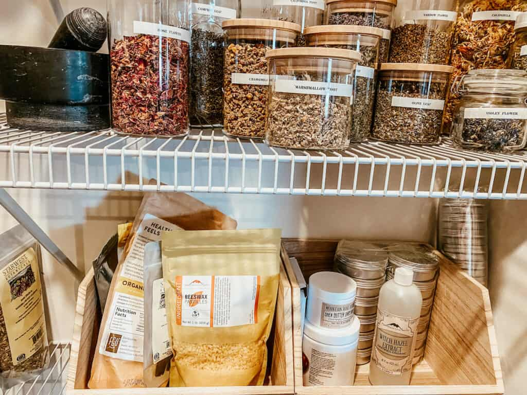 organic ingredients in bins for the home apothecary