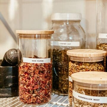 dried herbs in glass storage containers