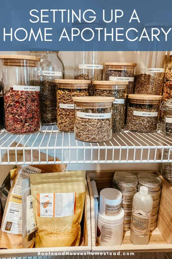 the home apothecary set up in the kitchen pantry shelving