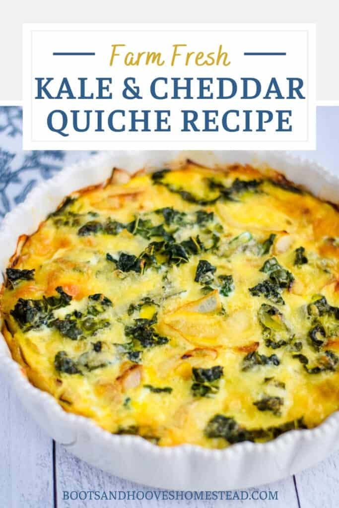 white baking dish with kale quiche