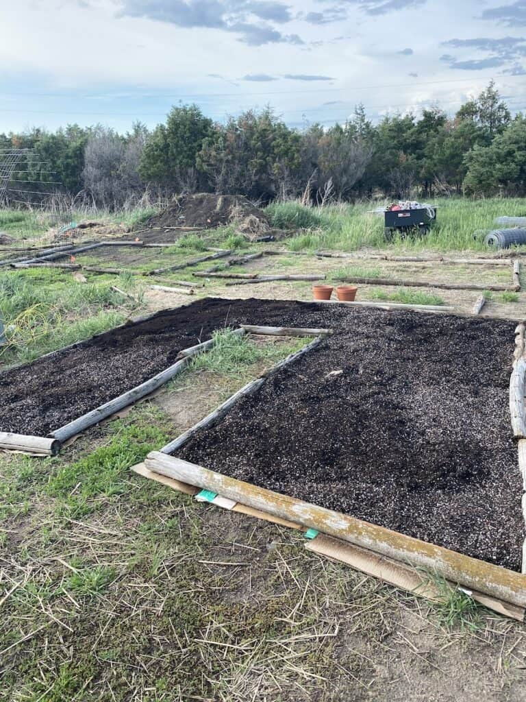filling raised beds with compost