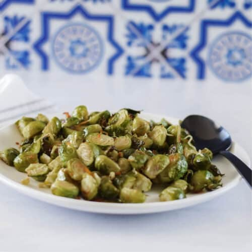 serving plate with fresh Roasted Brussels sprouts