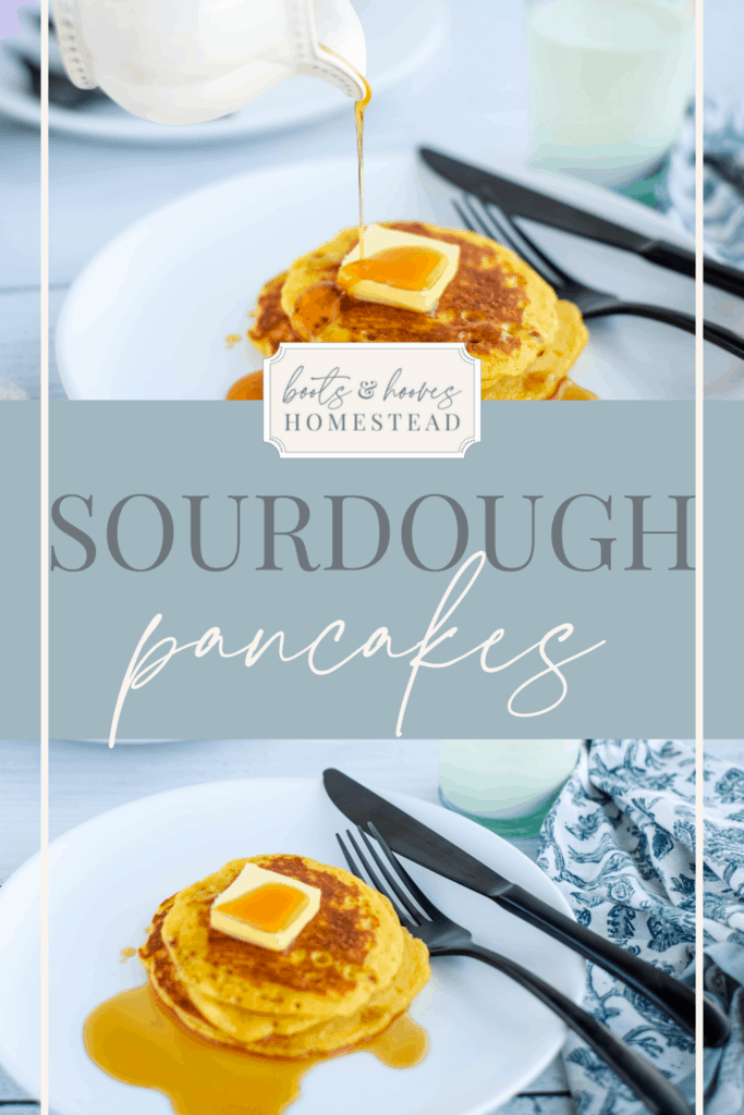 two images of einkorn sourdough pancakes with butter and syrup